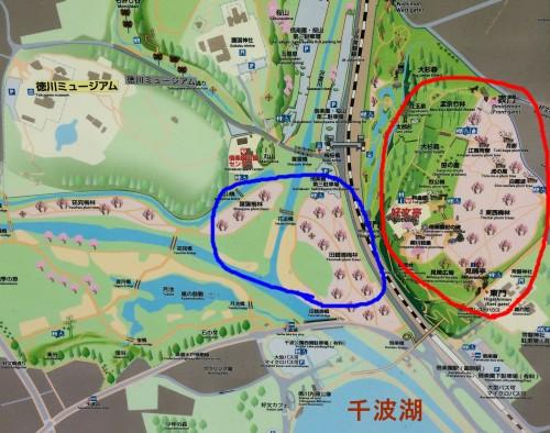 千波湖の地図