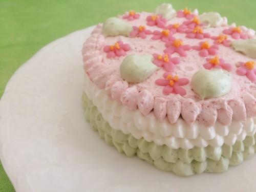 ひな祭りカラーの手作りケーキ