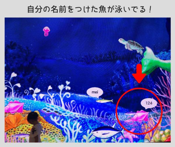 大型ビジョンに映し出された自分の魚