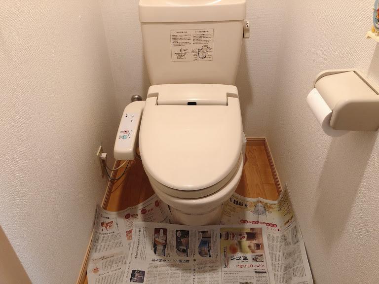 断水中のトイレ