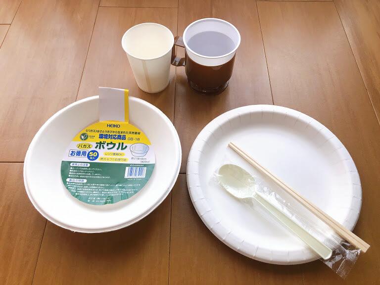 断水中に便利だった紙皿、紙コップ